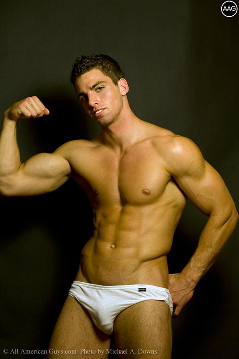 Male model flexing