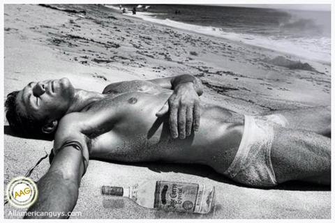 Male model on the beach