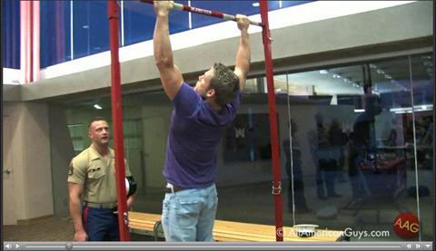 Male model doing pull-ups