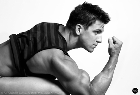 Male model flexing arm