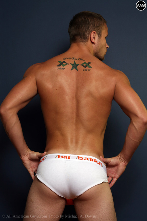 Male model flexing his back