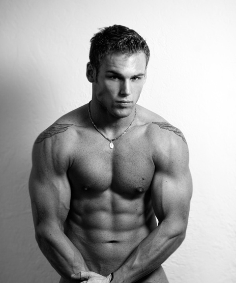 Male model flexing