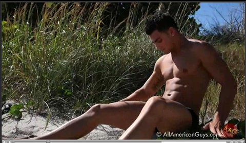 Male model posing on the beach