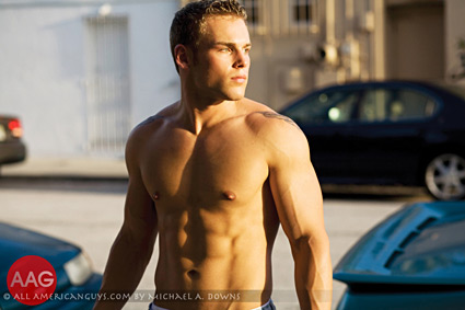 Male model with shirt off