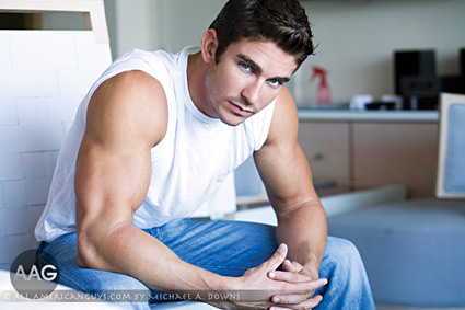 Male model sitting on chair